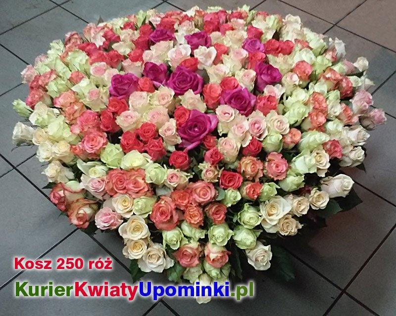 Tylko na zewnątrz Kosz 250 róż dostawa kwiatów Poczta Kurier Kwiatowa Przesyłka GI06